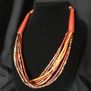 Vintage Boho Tribal Dyed Horn Necklace
